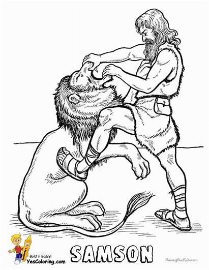 Bible Coloring Pages Samson Jesus Lion Faithful
