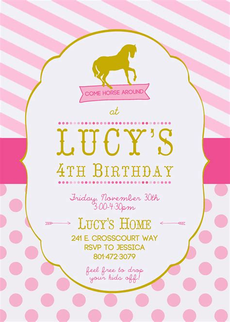 horse birthday invitation  girls