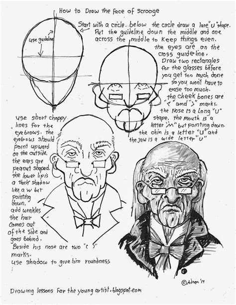 How To Draw Worksheets For The Young Artist How To Draw The Face Of Scrooge Free Printable