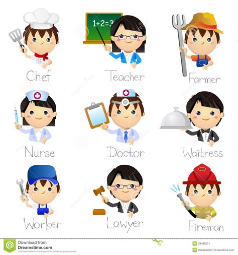occupation icons stock vector illustration  human