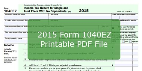 federal ez form 2016 2015 form 1040ez printable pdf file and instructions