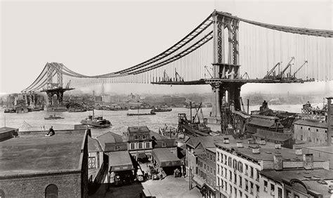 Vintage Manhattan Bridge Under Construction New York