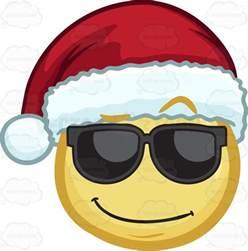 a cool looking emoji wearing a santa hat vector clip art cartoon