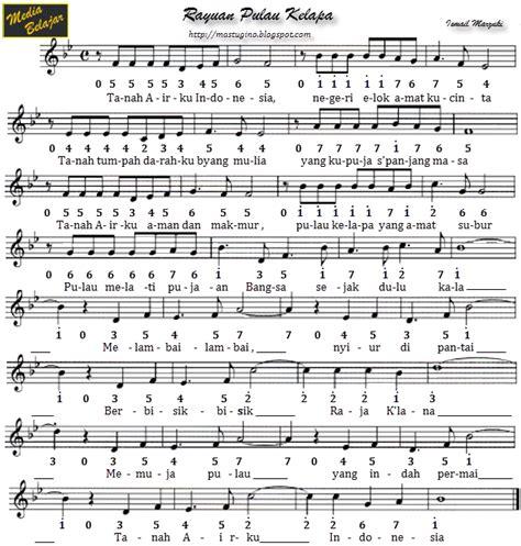 bagimu negeri not balok kumpulan not angka lagu wajib atau lagu nasional bagian 1