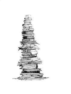 Someone mentioned this as a tattoo outline.. I could do a stack of books up my right side! My