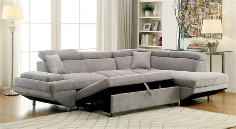 Sleeper Sofa Sectionals by Furniture Of America 6124gy Gray Modern Sleeper Sectional Sofa