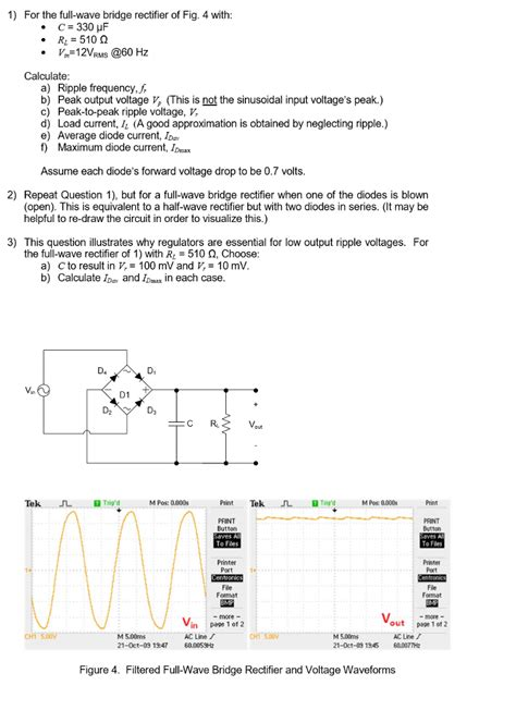 Solved For The Full Wave Bridge Rectifier Fig