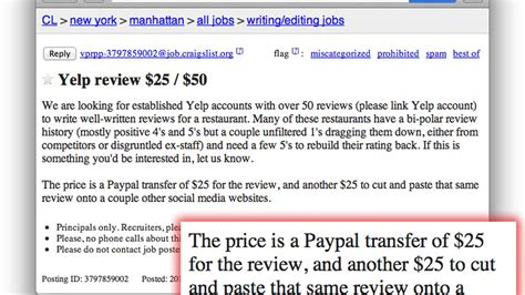 shady craigslist ad offers cash  fake yelp reviews eater