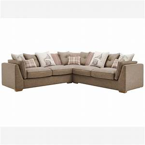 California 4 seater pillow back corner sofa pebble fabric for Perez 4 seater pillow back sectional sofa