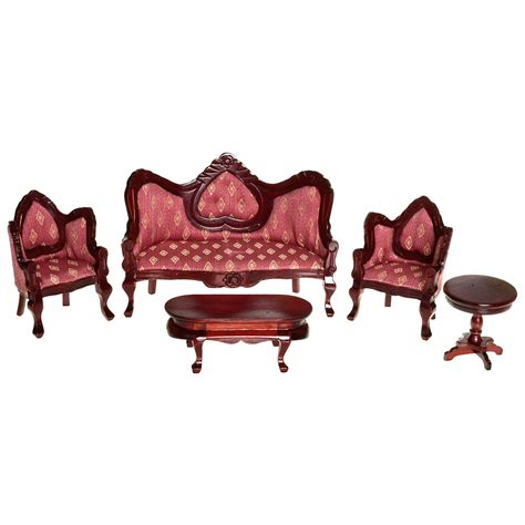 mahogany rose victorian living room dollhouse miniature set collector dollhouse accessories