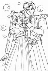 Coloring Pages Wedding Anime Sailor Moon Princess Serenity Prince Endymion Printable Sailormoon Adult Sheets Cool Books Manga Bestcoloringpagesforkids Crystal Template sketch template