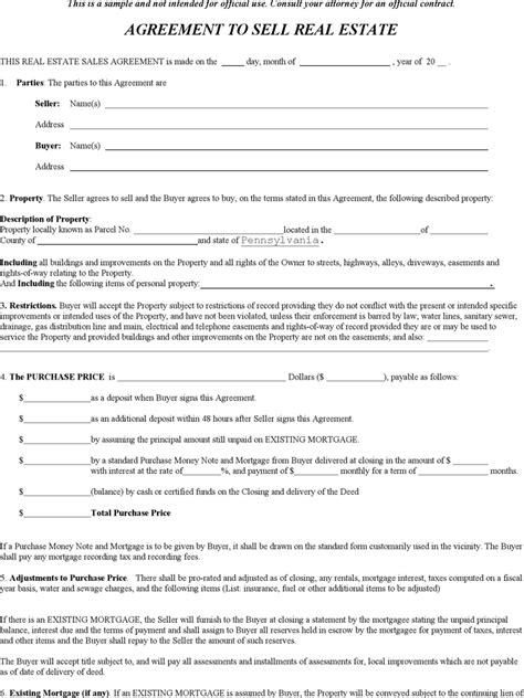 pennsylvania agreement  sell real estate form