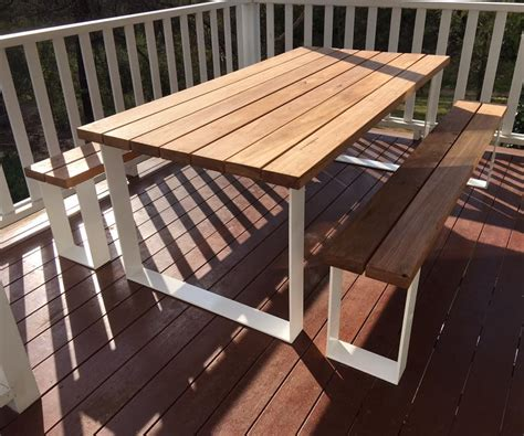 tolix stool outdoor setting timber table loop legs bench