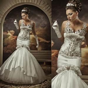 Sexy Luxury Designer Wedding Gowns Crystal Mermaid Diamond ...