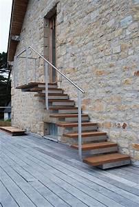 escaliers d39exterieur bois alu acier rampes cote With escalier de maison exterieur 5 deco escalier interieur