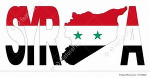 Illustration Of Syria With Map On Syrian Flag