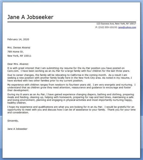 au pair cover letter sample creative resume design