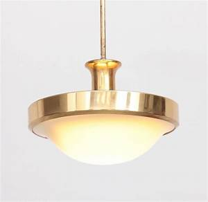 Beautiful glass and brass art deco pendant lamp germany