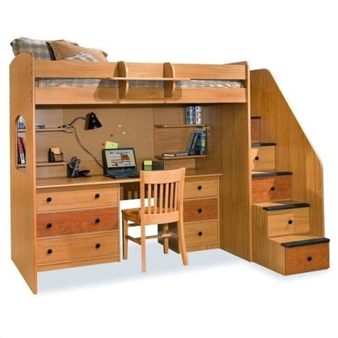 wooden furniture suspended beds berg furniture utica lofts loft bed with 5 drawer