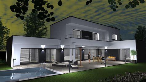 cabinet design maison contemporaine toit plat sur terrain en pente