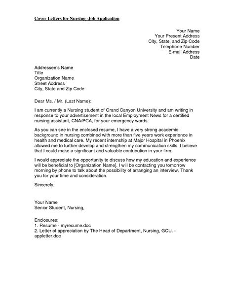 Cover Letter Sle Nursing Student by Nursing Covers Sle Resume