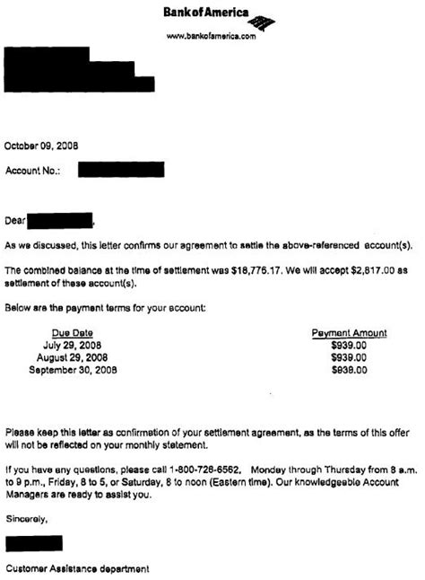 Confirmation Letter Boa Template by Bank Of America Sle Debt Settlement Letter Leave Debt