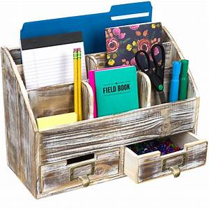 Rustic, Wood, Office, Desk, Organizer, Includes, 6, Compartments, And, 2, Drawers, Brown