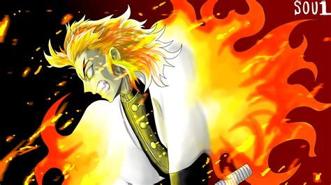Demon Slayer Kyojuro Rengoku On Fire With Angry Face 4k Hd