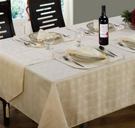Jacquard Dining Tablecloths Round Oblong Square Cream Colour