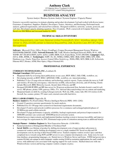 Business Resume Skills by The Best Business Analyst Resume Sle Recentresumes