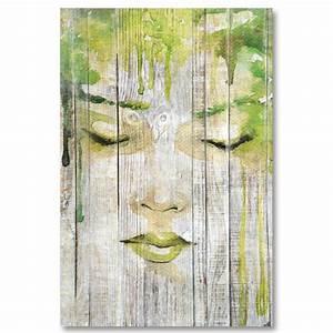 Tableau En Bois Décoration : tableau bois palette r ve de femme esquisse peinture verte ~ Teatrodelosmanantiales.com Idées de Décoration
