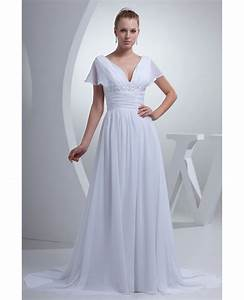 v neck long white chiffon elegant wedding dress with With white chiffon wedding dress