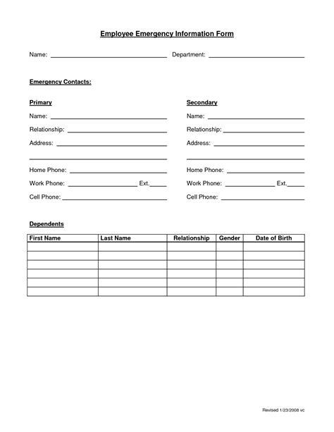 16079 employee information form employee emergency form employee forms