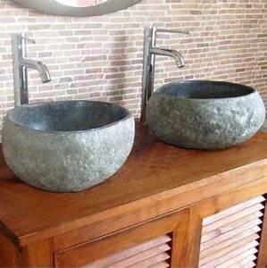 Lavabo En Pierre Naturelle : vasque galet en pierre naturelle lavabos ~ Premium-room.com Idées de Décoration