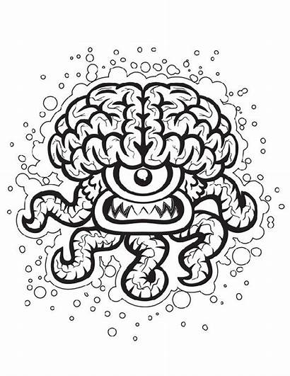 Crazy Coloring Pages Brain Halloween Optical Printable