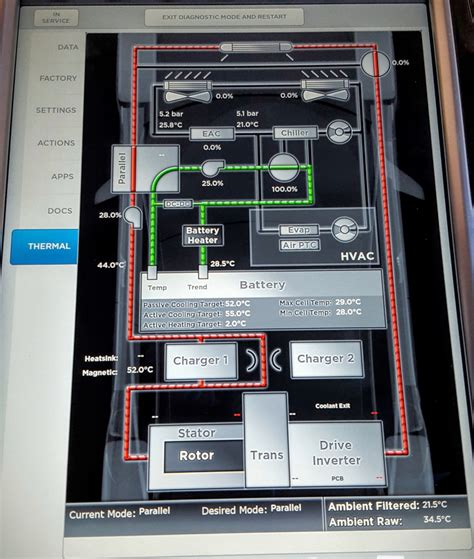 image tesla model  thermal management screen