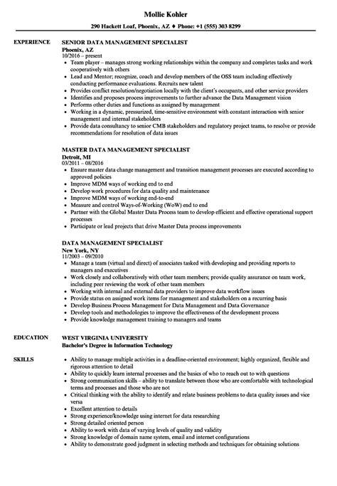 Data Management Resume Sle by Data Management Specialist Resume Sles Velvet