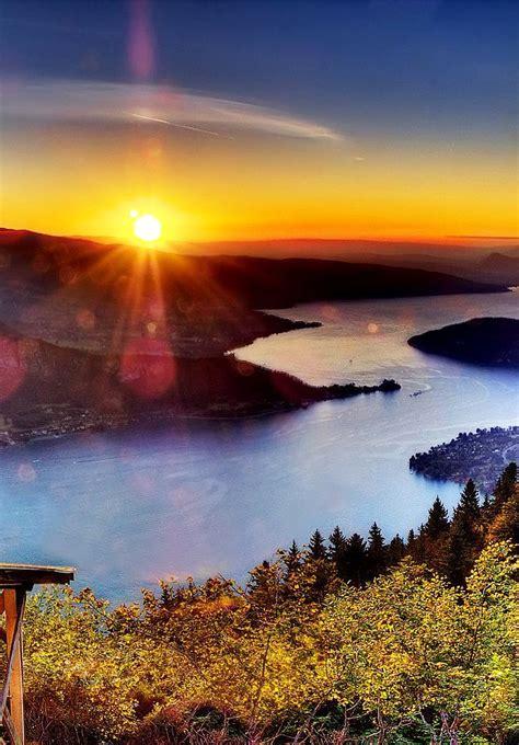 Amazing Sunset View Behind Lake Annecy Haute Savoie
