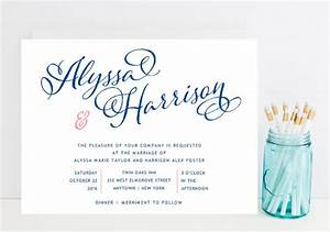 navy and pink wedding invitation whimsical script navy With wedding invitations online fast