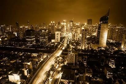 Jakarta Indonesia Metropolis Malam Metropolitan Langit Pemandangan
