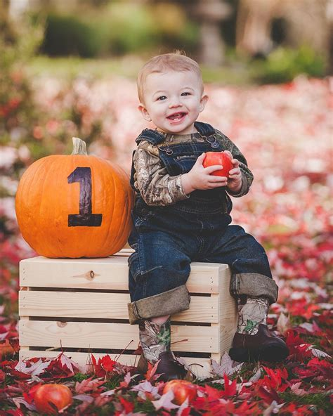 year  fall portrait baby  apple