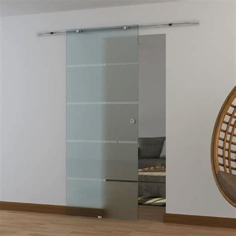 Porte coulissante en verre trempé dépoli avec dessin