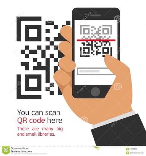 Mobile Phone Reads The Qr Code Stock Vector