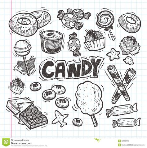 set  doodle candy icons royalty  stock image image
