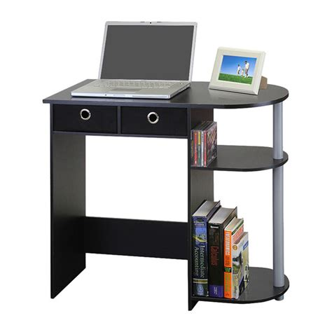 small computer desk writing laptop table drawers home workstation black grey ebay