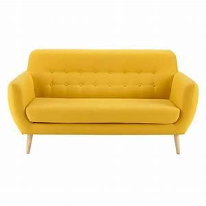 Sofa 4 Sitzer Stoff : vintage sofa 2 3 sitzer aus stoff gelb iceberg maisons du monde ~ Bigdaddyawards.com Haus und Dekorationen