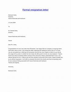 formal letter of resignation template formal letter template