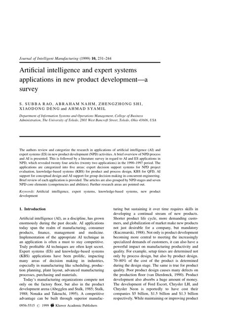 (PDF) Artificial intelligence and expert systems