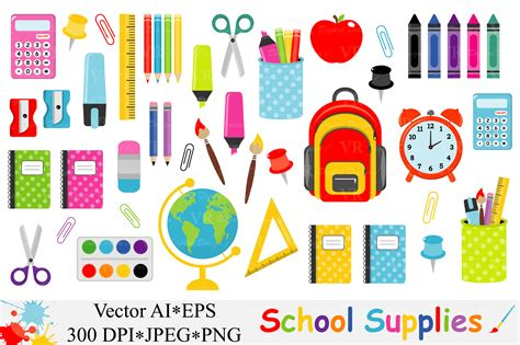 back to school clipart school supplies clipart back to school vector graphic