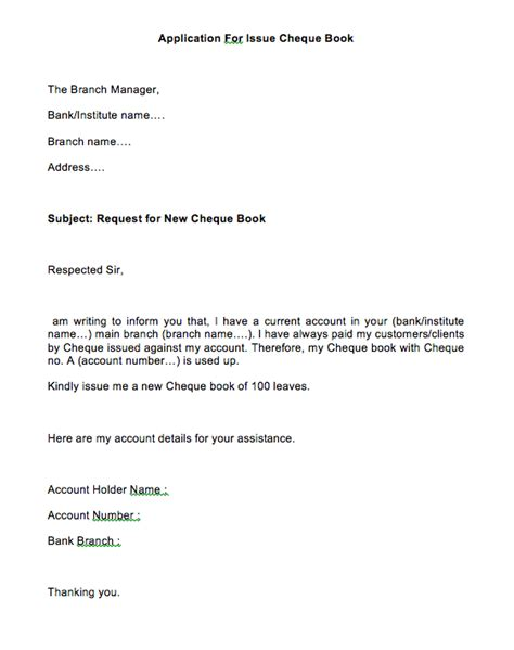 application  bank manager  cheque book sample letter